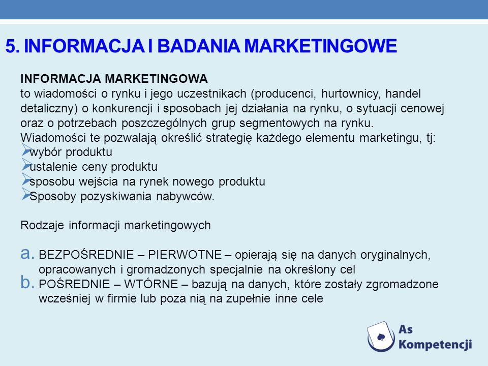 5. INFORMACJA I BADANIA MARKETINGOWE INFORMACJA MARKETINGOWA to wiadomości o rynku i jego uczestnikach (producenci, hurtownicy, handel detaliczny) o k