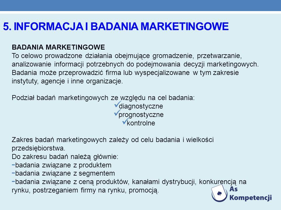 5. INFORMACJA I BADANIA MARKETINGOWE BADANIA MARKETINGOWE To celowo prowadzone działania obejmujące gromadzenie, przetwarzanie, analizowanie informacj