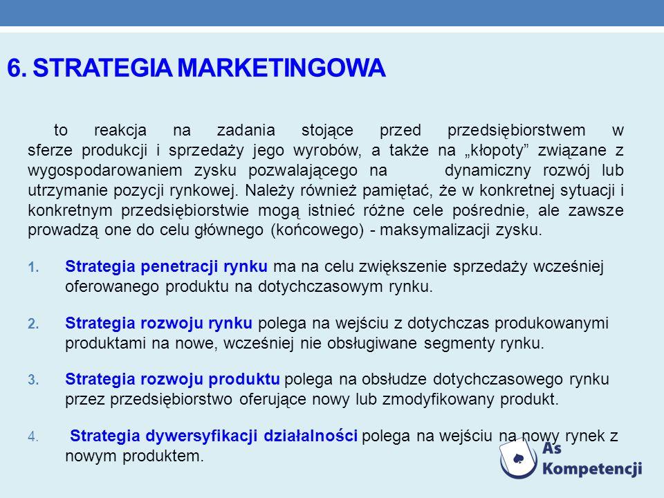6. STRATEGIA MARKETINGOWA to reakcja na zadania stojące przed przedsiębiorstwem w sferze produkcji i sprzedaży jego wyrobów, a także na kłopoty związa