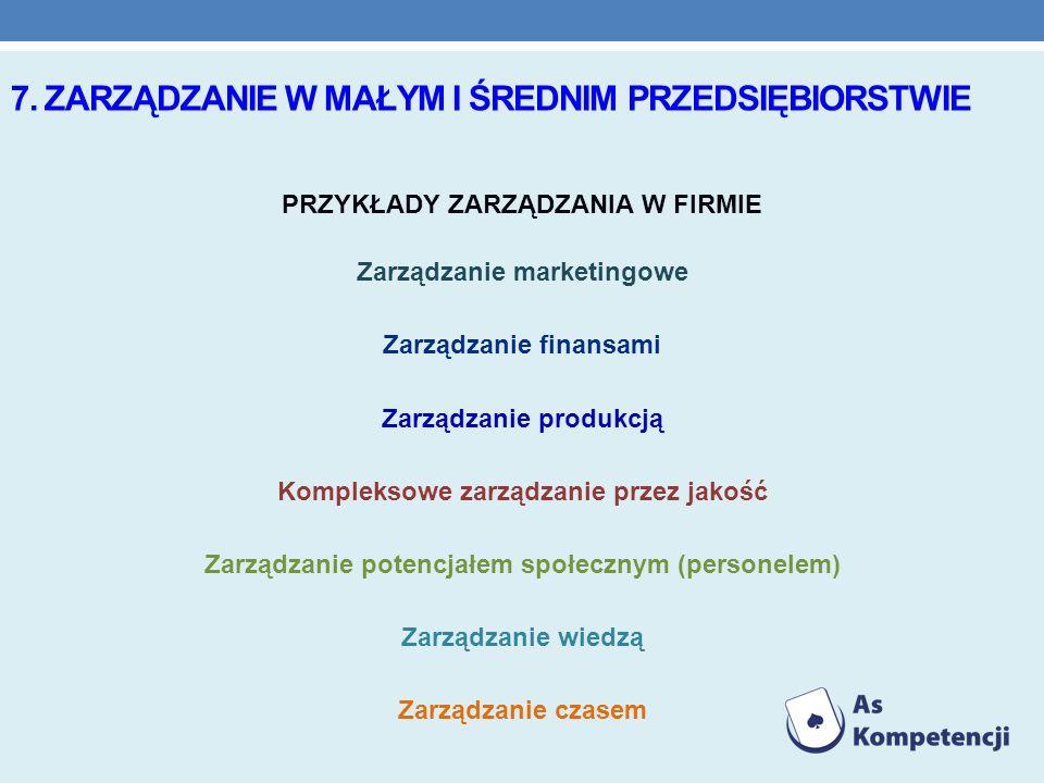 7. ZARZĄDZANIE W MAŁYM I ŚREDNIM PRZEDSIĘBIORSTWIE PRZYKŁADY ZARZĄDZANIA W FIRMIE Zarządzanie marketingowe Zarządzanie finansami Zarządzanie produkcją