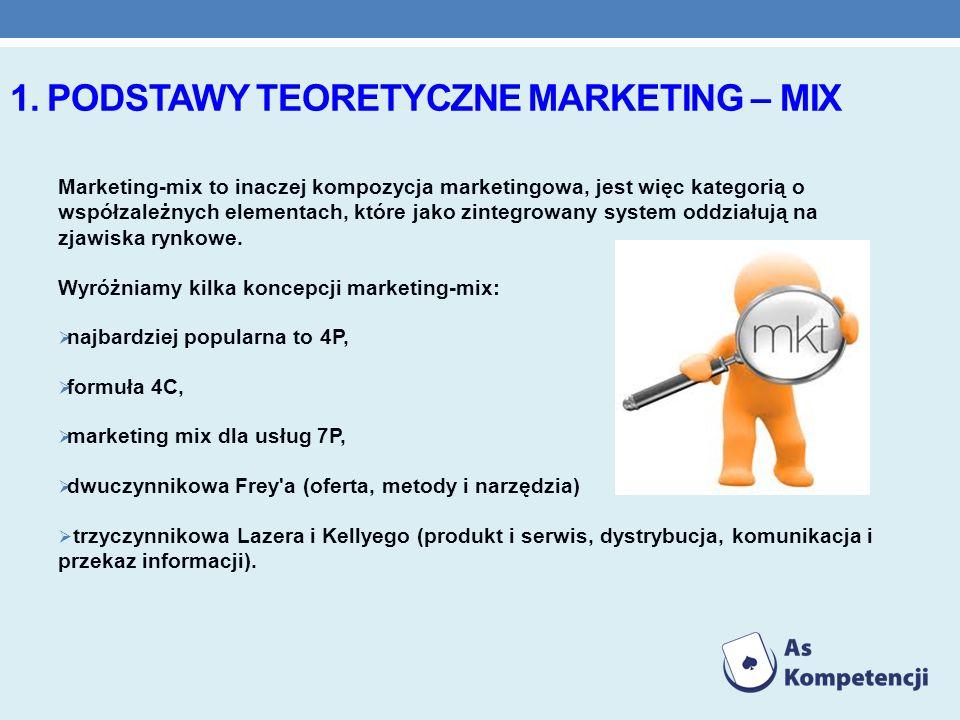 1. PODSTAWY TEORETYCZNE MARKETING – MIX Marketing-mix to inaczej kompozycja marketingowa, jest więc kategorią o współzależnych elementach, które jako