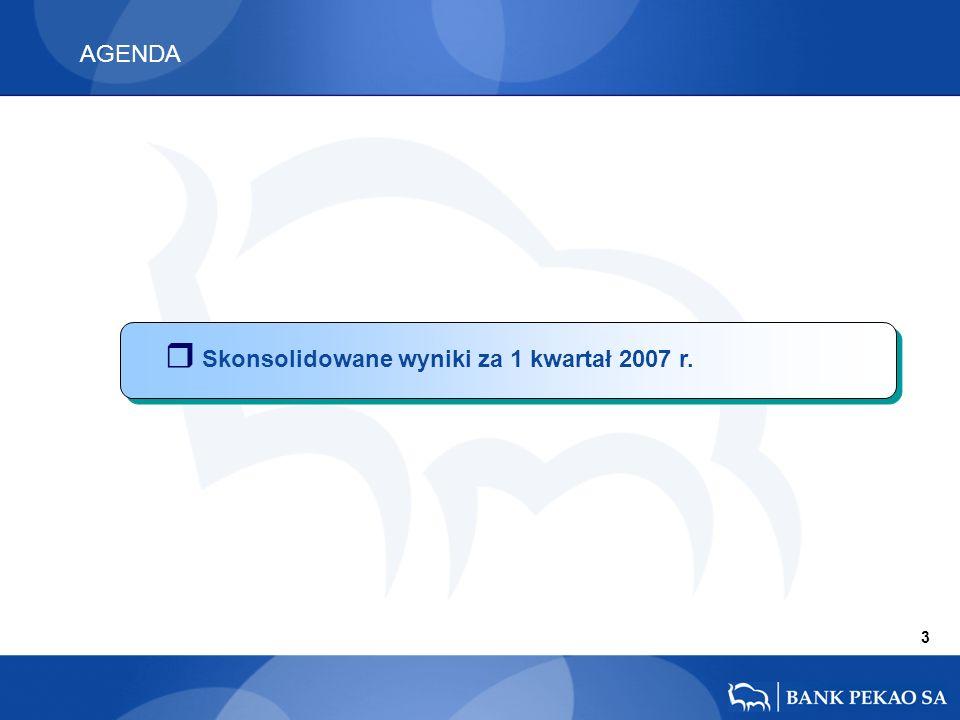 AGENDA 3 r Skonsolidowane wyniki za 1 kwartał 2007 r.