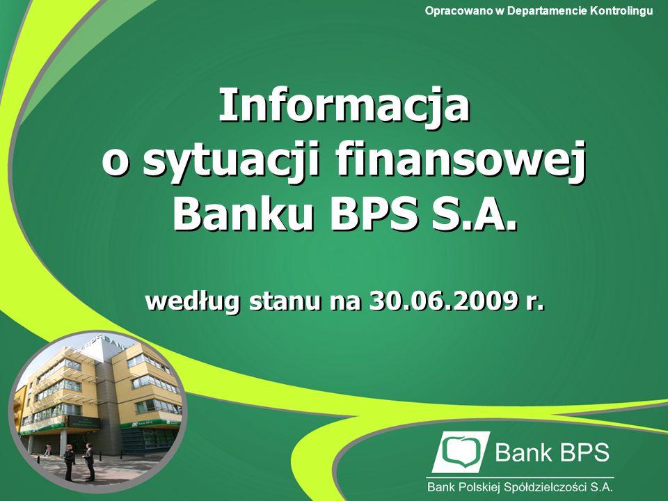 Opracowano w Departamencie Kontrolingu Informacja o sytuacji finansowej Banku BPS S.A.
