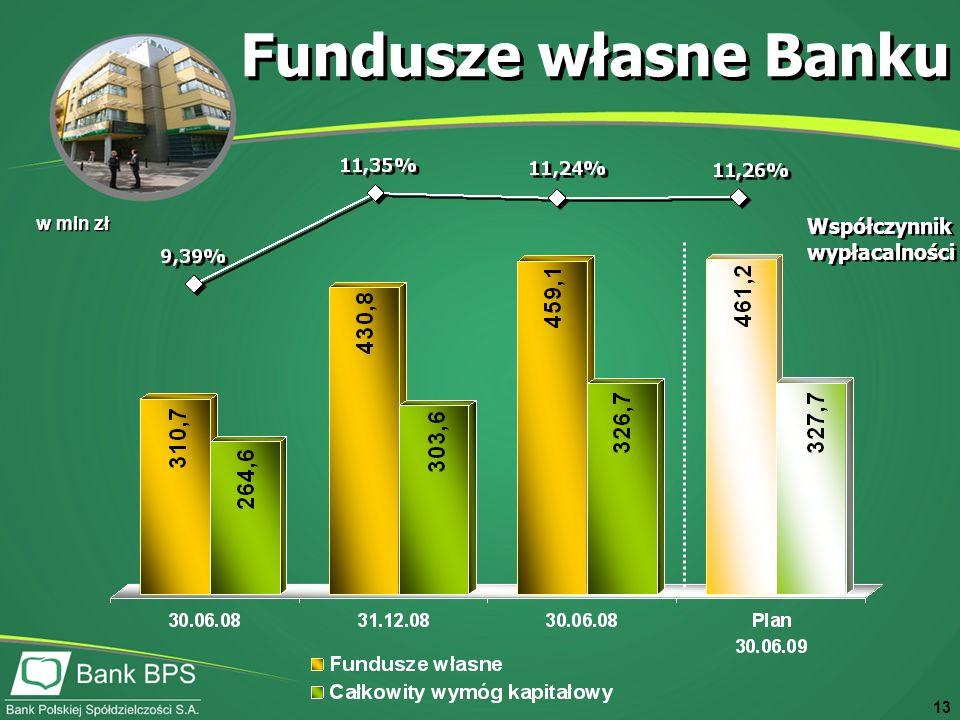 13 w mln zł Fundusze własne Banku Współczynnik wypłacalności Współczynnik wypłacalności