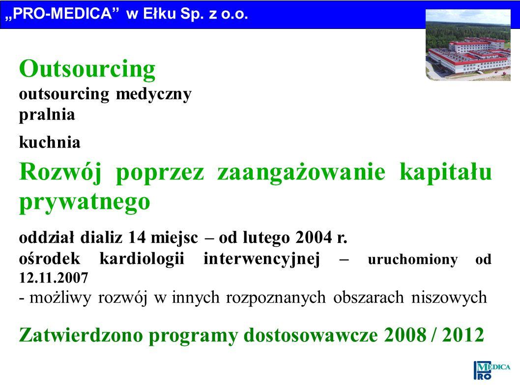 Outsourcing outsourcing medyczny pralnia kuchnia Rozwój poprzez zaangażowanie kapitału prywatnego oddział dializ 14 miejsc – od lutego 2004 r. ośrodek