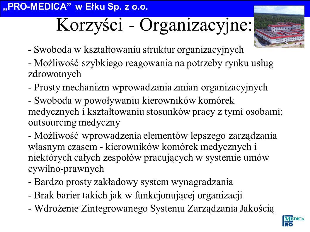 Korzyści - Organizacyjne: – - Swoboda w kształtowaniu struktur organizacyjnych – - Możliwość szybkiego reagowania na potrzeby rynku usług zdrowotnych