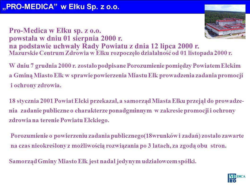 Pro-Medica w Ełku sp. z o.o. powstała w dniu 01 sierpnia 2000 r. na podstawie uchwały Rady Powiatu z dnia 12 lipca 2000 r. Mazurskie Centrum Zdrowia w