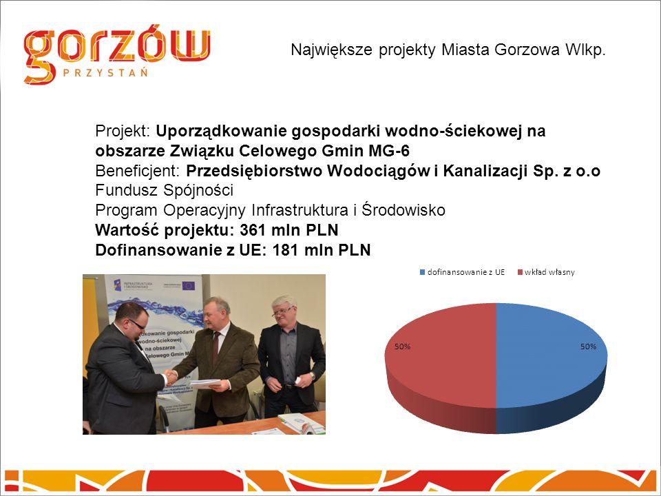 Projekt: Uporządkowanie gospodarki wodno-ściekowej na obszarze Związku Celowego Gmin MG-6 Beneficjent: Przedsiębiorstwo Wodociągów i Kanalizacji Sp.