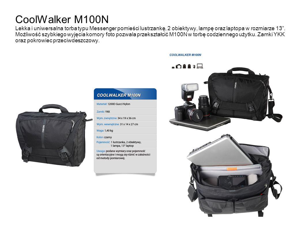 CoolWalker M100N Lekka i uniwersalna torba typu Messenger pomieści lustrzankę, 2 obiektywy, lampę oraz laptopa w rozmiarze 13. Możliwość szybkiego wyj
