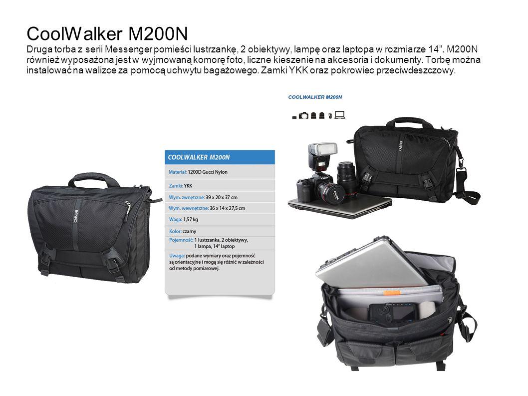 CoolWalker M200N Druga torba z serii Messenger pomieści lustrzankę, 2 obiektywy, lampę oraz laptopa w rozmiarze 14. M200N również wyposażona jest w wy