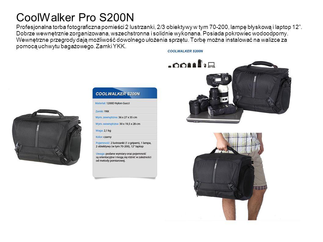 CoolWalker Pro S200N Profesjonalna torba fotograficzna pomieści 2 lustrzanki, 2/3 obiektywy w tym 70-200, lampę błyskową i laptop 12. Dobrze wewnętrzn