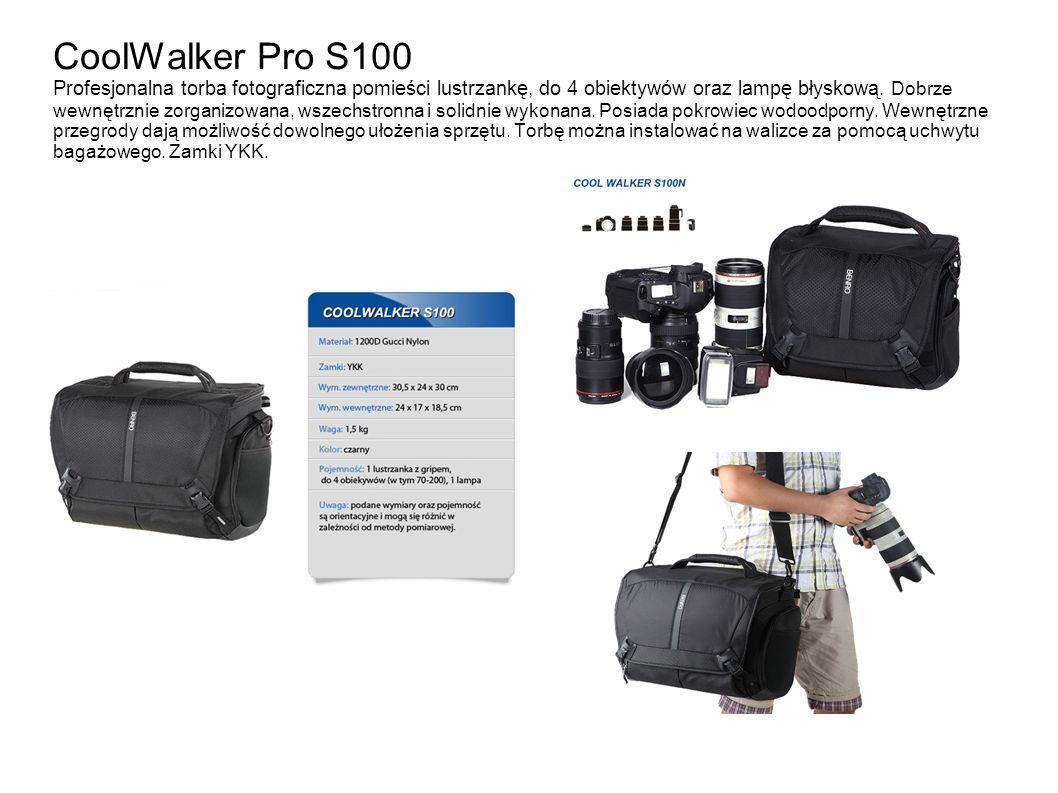CoolWalker Pro S100 Profesjonalna torba fotograficzna pomieści lustrzankę, do 4 obiektywów oraz lampę błyskową. Dobrze wewnętrznie zorganizowana, wsze