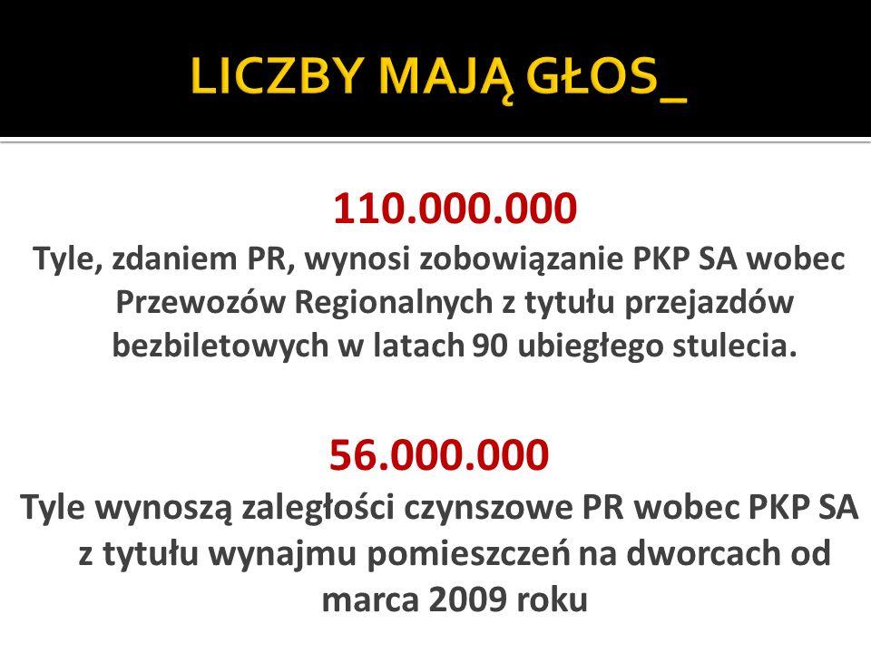 110.000.000 Tyle, zdaniem PR, wynosi zobowiązanie PKP SA wobec Przewozów Regionalnych z tytułu przejazdów bezbiletowych w latach 90 ubiegłego stulecia.