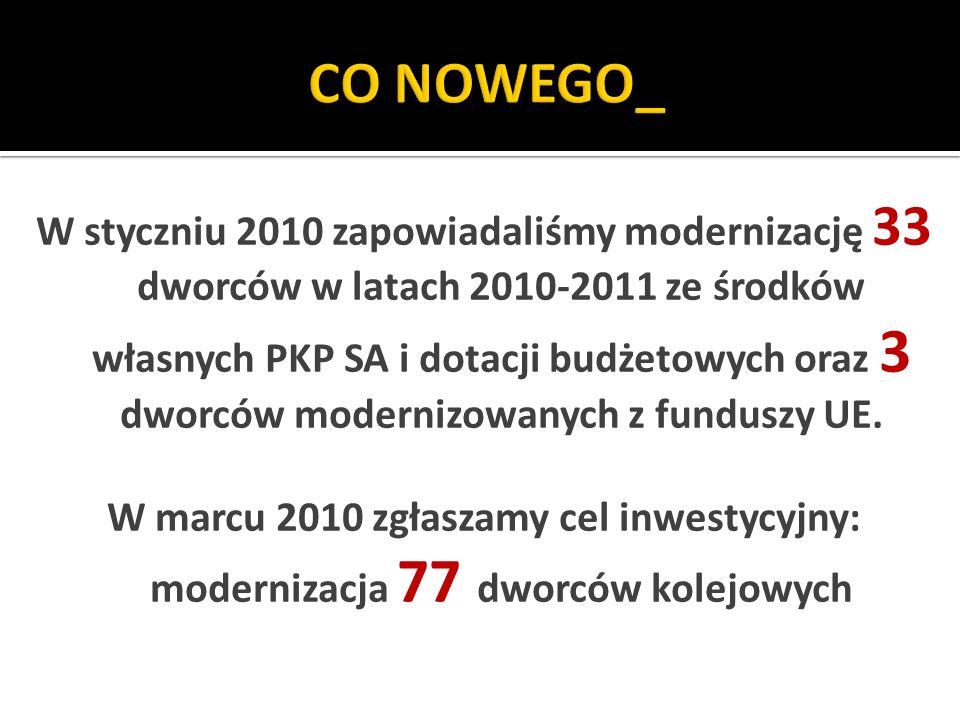 W styczniu 2010 zapowiadaliśmy modernizację 33 dworców w latach 2010-2011 ze środków własnych PKP SA i dotacji budżetowych oraz 3 dworców modernizowanych z funduszy UE.