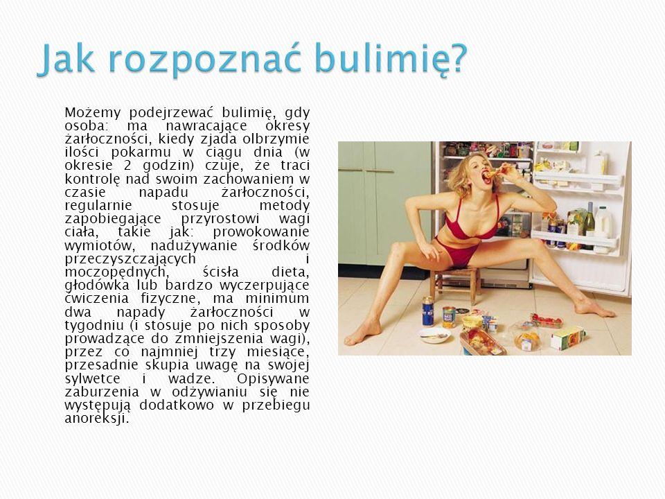 Wyróżnia dwa typy bulimii: Pierwszy z nich to typ przeczyszczający czyli taki, w którym po napadzie żarłoczności następuje prowokowanie wymiotów, używanie środków przeczyszczających, diuretyków, lewatywy.