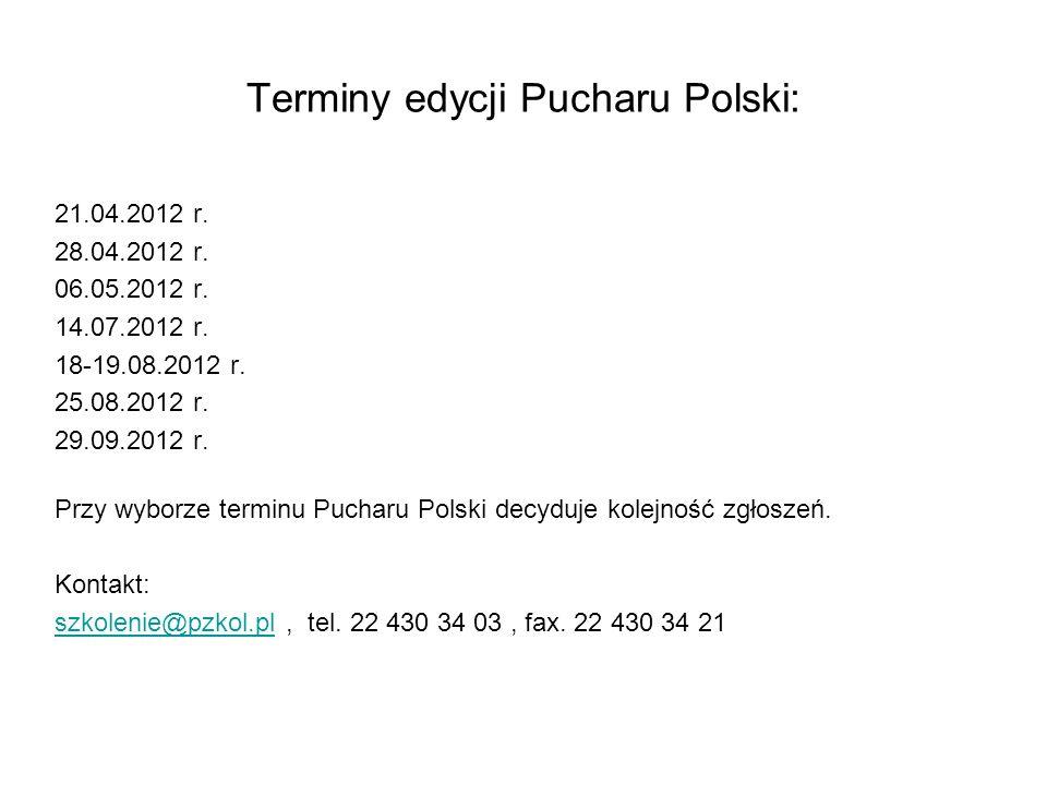 Terminy edycji Pucharu Polski: 21.04.2012 r. 28.04.2012 r.