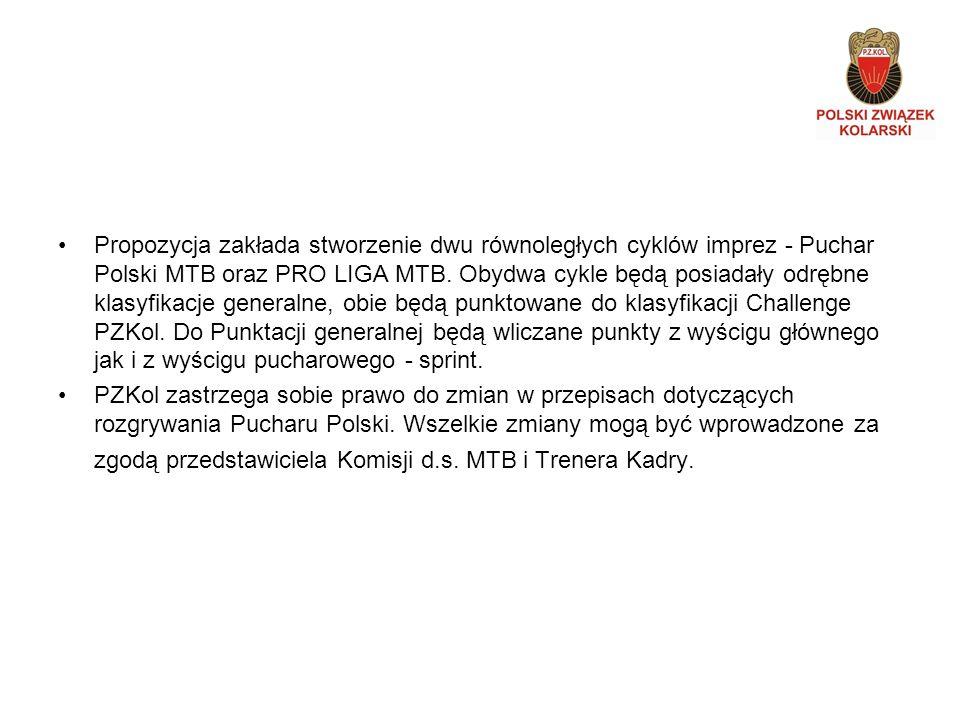 Propozycja zakłada stworzenie dwu równoległych cyklów imprez - Puchar Polski MTB oraz PRO LIGA MTB.