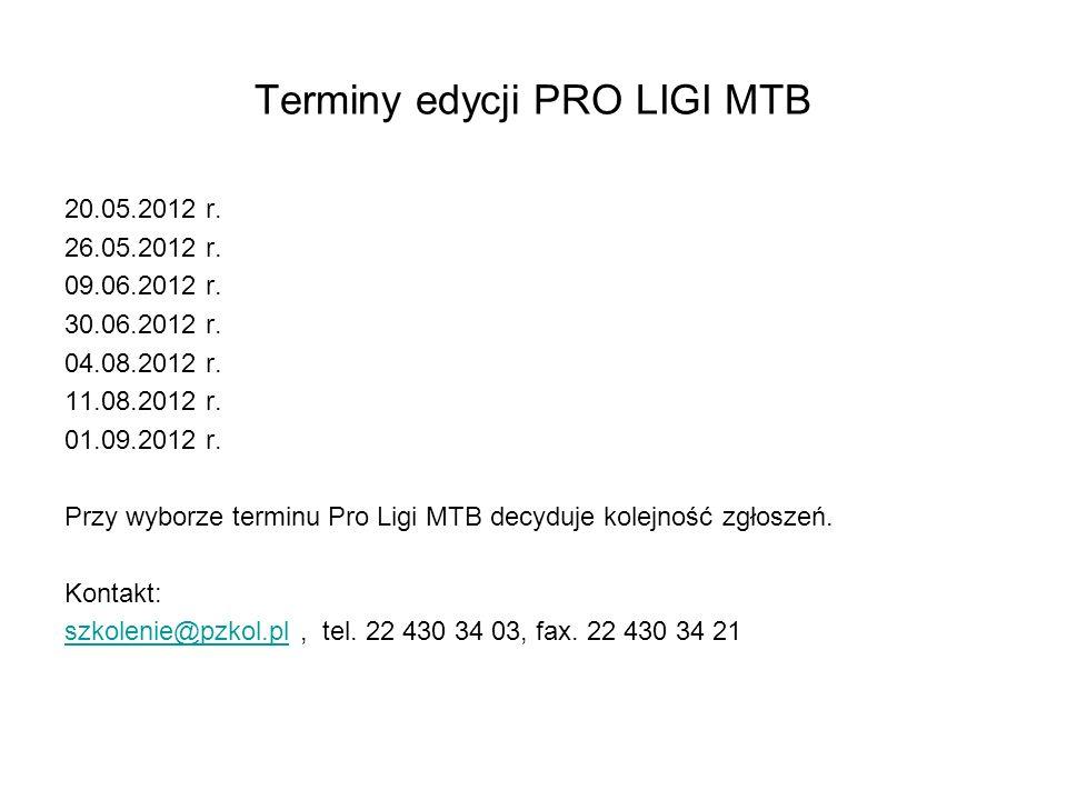 Terminy edycji PRO LIGI MTB 20.05.2012 r. 26.05.2012 r.