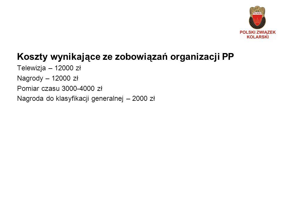 Koszty wynikające ze zobowiązań organizacji PP Telewizja – 12000 zł Nagrody – 12000 zł Pomiar czasu 3000-4000 zł Nagroda do klasyfikacji generalnej – 2000 zł