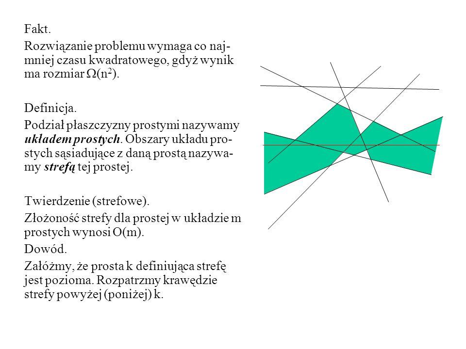 Fakt. Rozwiązanie problemu wymaga co naj- mniej czasu kwadratowego, gdyż wynik ma rozmiar (n 2 ). Definicja. Podział płaszczyzny prostymi nazywamy ukł