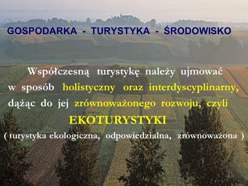 GOSPODARKA - TURYSTYKA - ŚRODOWISKO Współczesną turystykę należy ujmować w sposób holistyczny oraz interdyscyplinarny, dążąc do jej zrównoważonego rozwoju, czyli EKOTURYSTYKI ( turystyka ekologiczna, odpowiedzialna, zrównoważona )
