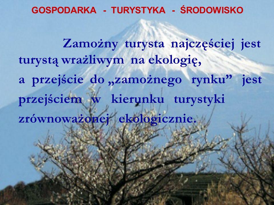 GOSPODARKA - TURYSTYKA - ŚRODOWISKO Zamożny turysta najczęściej jest turystą wrażliwym na ekologię, a przejście do zamożnego rynku jest przejściem w kierunku turystyki zrównoważonej ekologicznie.