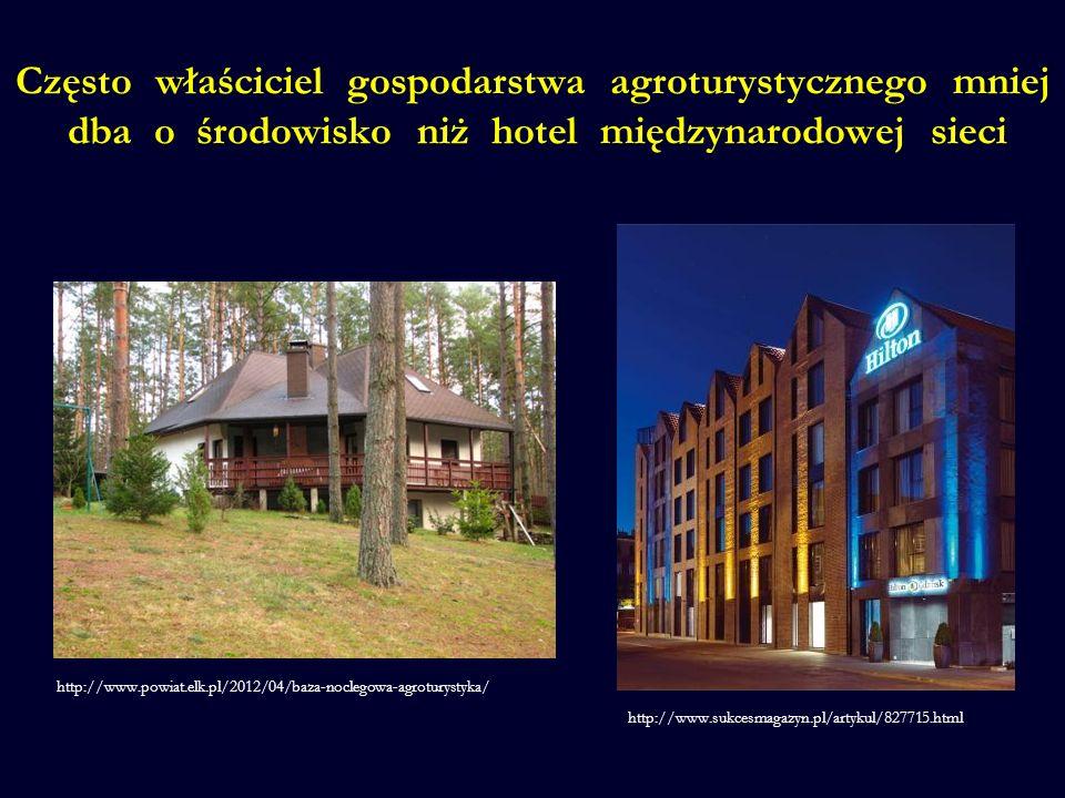 Często właściciel gospodarstwa agroturystycznego mniej dba o środowisko niż hotel międzynarodowej sieci http://www.powiat.elk.pl/2012/04/baza-noclegowa-agroturystyka/ http://www.sukcesmagazyn.pl/artykul/827715.html
