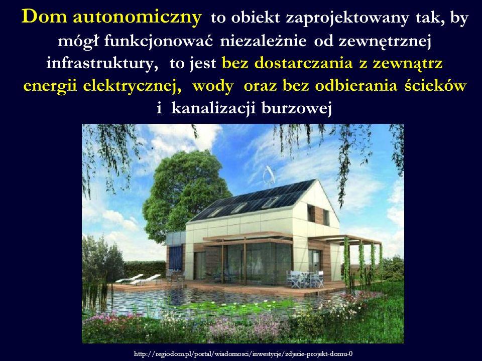Dom autonomiczny to obiekt zaprojektowany tak, by mógł funkcjonować niezależnie od zewnętrznej infrastruktury, to jest bez dostarczania z zewnątrz energii elektrycznej, wody oraz bez odbierania ścieków i kanalizacji burzowej http://regiodom.pl/portal/wiadomosci/inwestycje/zdjecie-projekt-domu-0