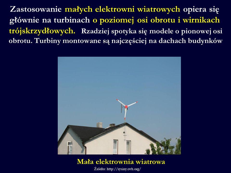 Zastosowanie małych elektrowni wiatrowych opiera się głównie na turbinach o poziomej osi obrotu i wirnikach trójskrzydłowych. Rzadziej spotyka się mod