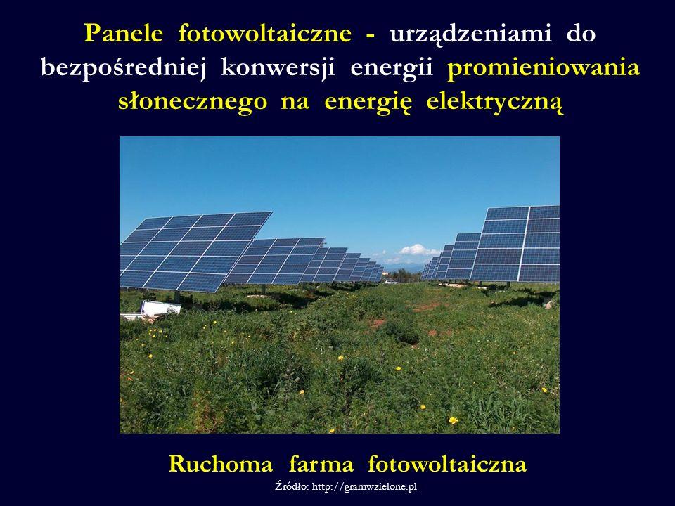 Panele fotowoltaiczne - urządzeniami do bezpośredniej konwersji energii promieniowania słonecznego na energię elektryczną Ruchoma farma fotowoltaiczna Źródło: http://gramwzielone.pl /