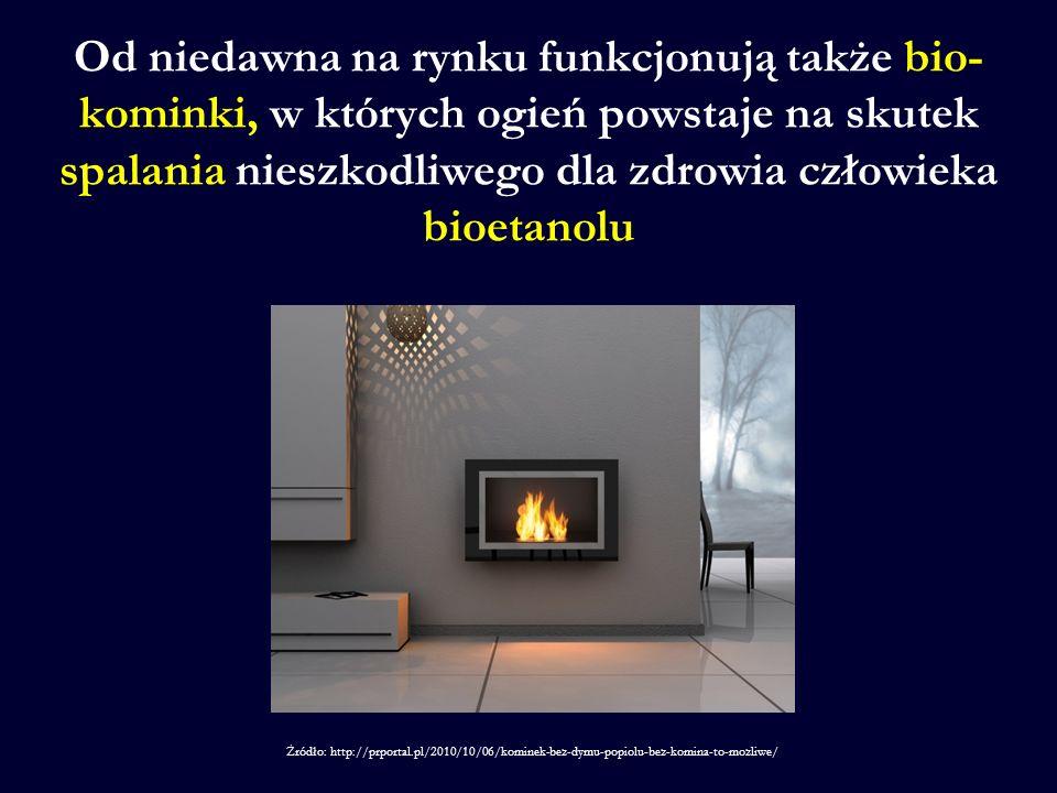 Od niedawna na rynku funkcjonują także bio- kominki, w których ogień powstaje na skutek spalania nieszkodliwego dla zdrowia człowieka bioetanolu Źródło: http://prportal.pl/2010/10/06/kominek-bez-dymu-popiolu-bez-komina-to-mozliwe/