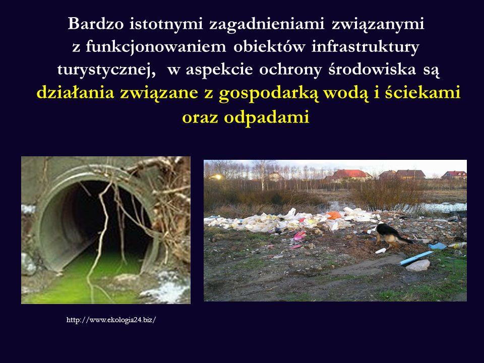 Bardzo istotnymi zagadnieniami związanymi z funkcjonowaniem obiektów infrastruktury turystycznej, w aspekcie ochrony środowiska są działania związane z gospodarką wodą i ściekami oraz odpadami http://www.ekologia24.biz/