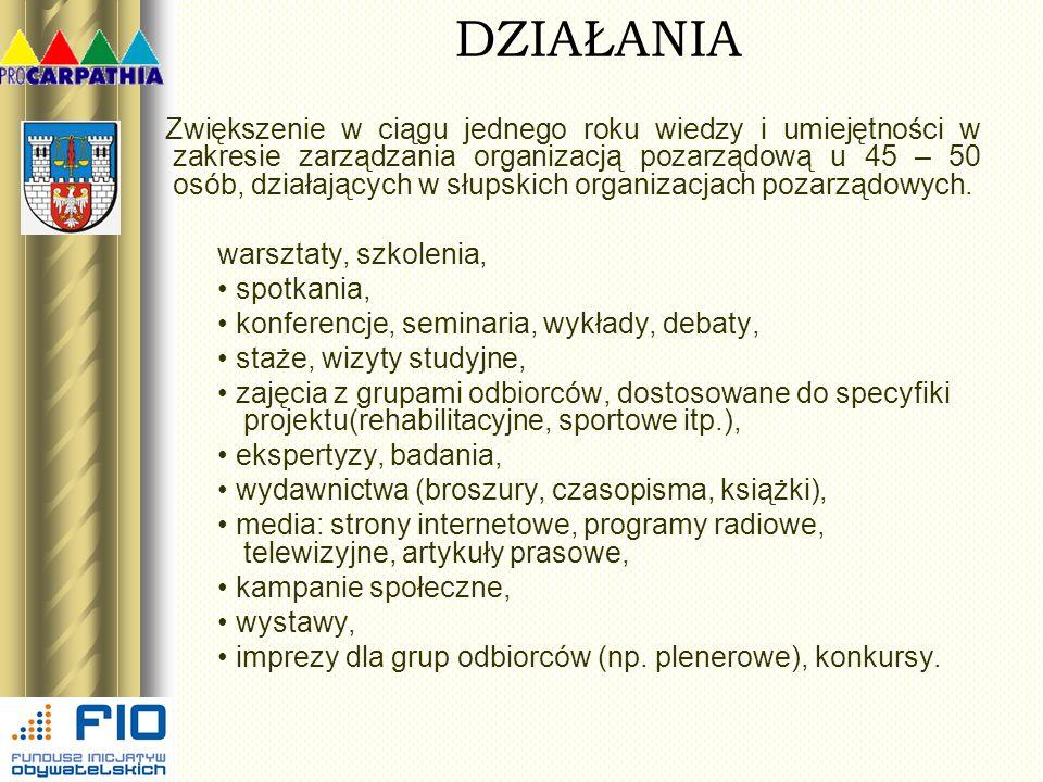 DZIAŁANIA Zwiększenie w ciągu jednego roku wiedzy i umiejętności w zakresie zarządzania organizacją pozarządową u 45 – 50 osób, działających w słupski