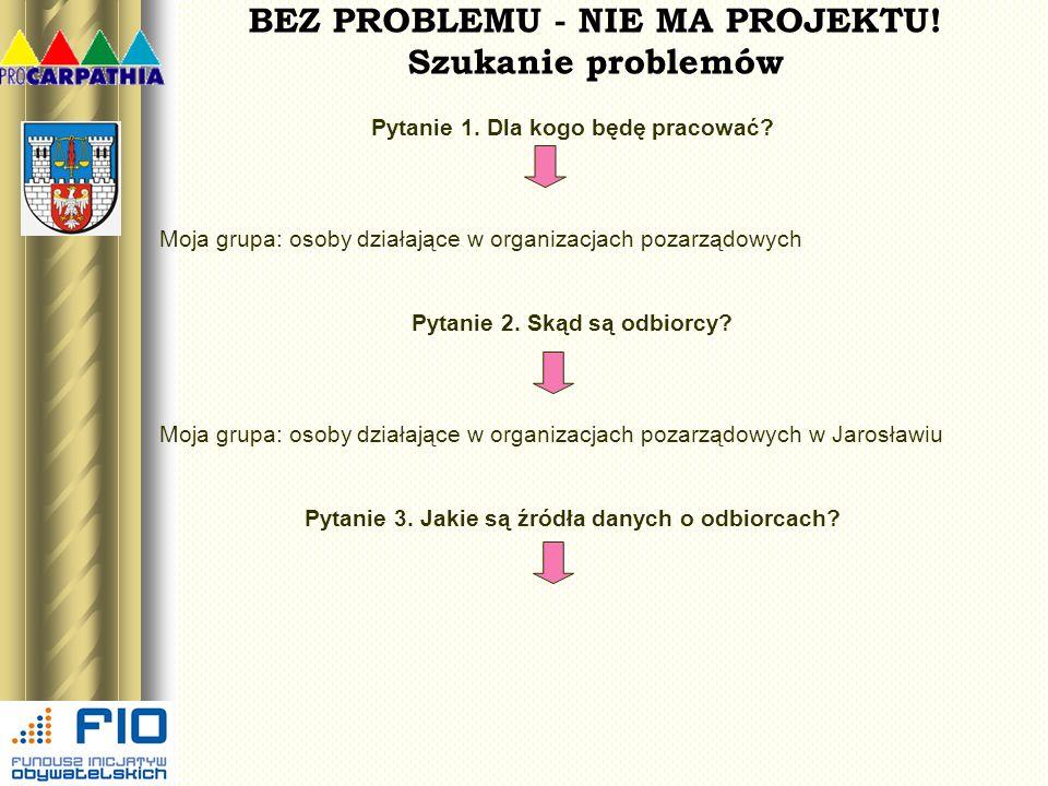 BEZ PROBLEMU - NIE MA PROJEKTU! Szukanie problemów Pytanie 1. Dla kogo będę pracować? Moja grupa: osoby działające w organizacjach pozarządowych Pytan
