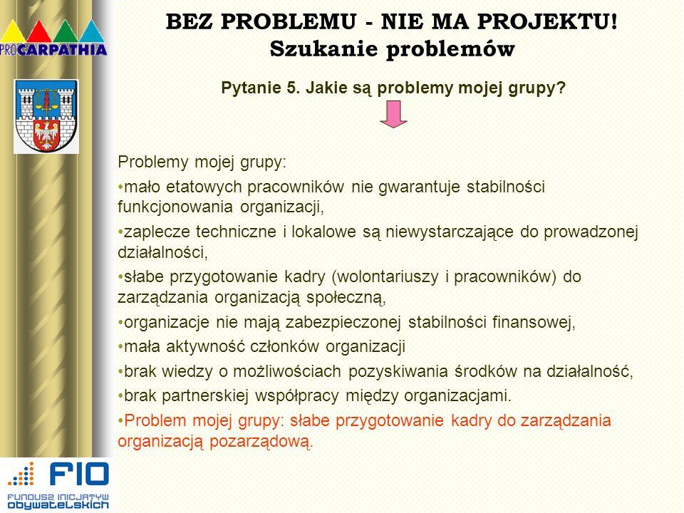 BEZ PROBLEMU - NIE MA PROJEKTU! Szukanie problemów Pytanie 5. Jakie są problemy mojej grupy? Problemy mojej grupy: mało etatowych pracowników nie gwar