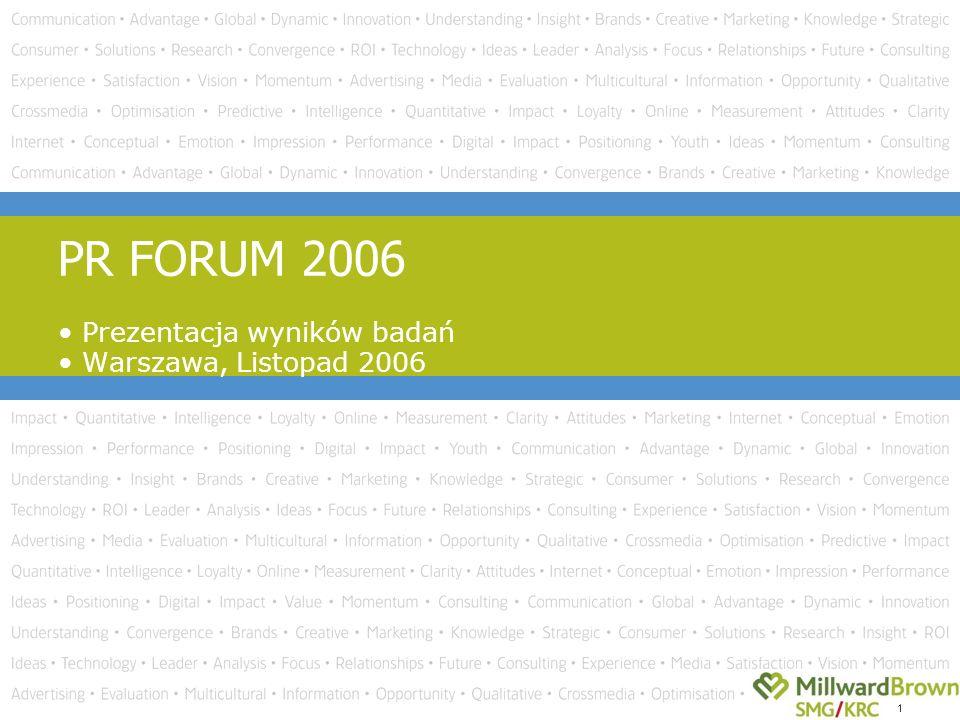 1 Prezentacja wyników badań Warszawa, Listopad 2006 PR FORUM 2006