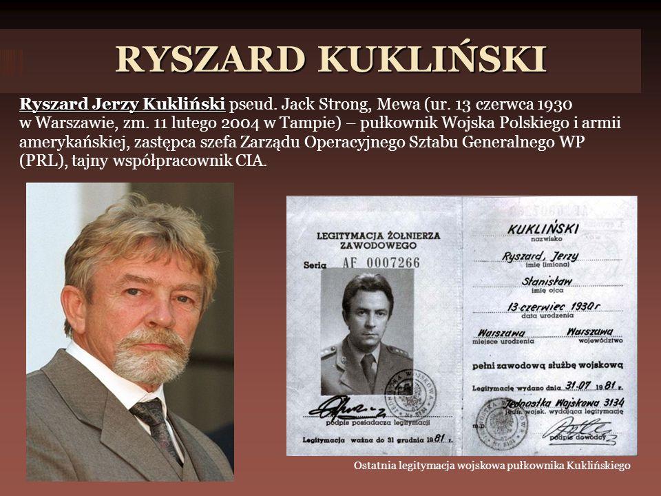 RYSZARD KUKLIŃSKI Ryszard Jerzy Kukliński Ryszard Jerzy Kukliński pseud.