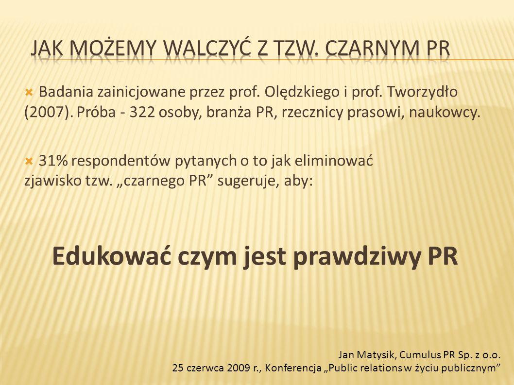 Badania zainicjowane przez prof. Olędzkiego i prof. Tworzydło (2007). Próba - 322 osoby, branża PR, rzecznicy prasowi, naukowcy. 31% respondentów pyta
