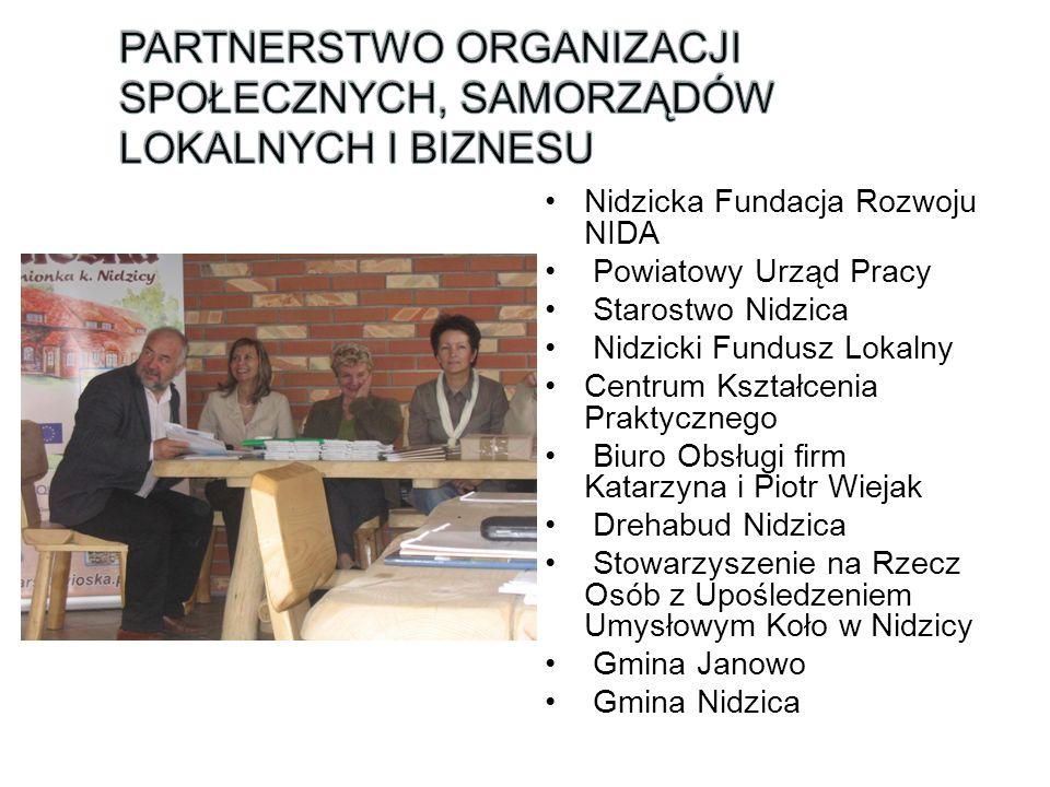 Nidzicka Fundacja Rozwoju NIDA Powiatowy Urząd Pracy Starostwo Nidzica Nidzicki Fundusz Lokalny Centrum Kształcenia Praktycznego Biuro Obsługi firm Ka