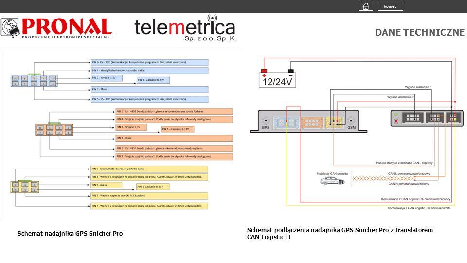 DANE TECHNICZNE Schemat nadajnika GPS Snicher Pro Schemat podłączenia nadajnika GPS Snicher Pro z translatorem CAN Logistic II koniec