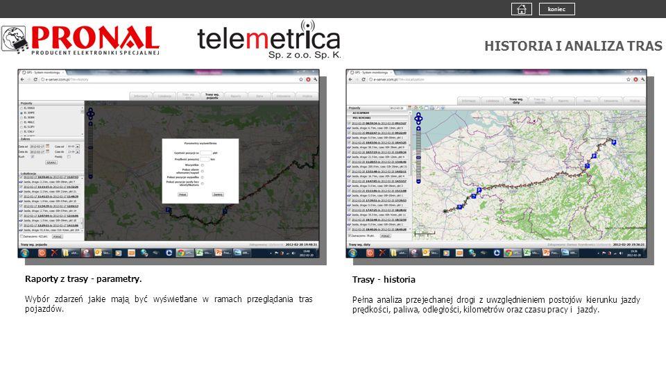 HISTORIA I ANALIZA TRAS Raporty z trasy - parametry. Wybór zdarzeń jakie mają być wyświetlane w ramach przeglądania tras pojazdów. Trasy - historia Pe