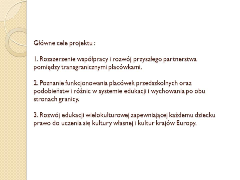 Główne cele projektu : 1. Rozszerzenie współpracy i rozwój przyszłego partnerstwa pomiędzy transgranicznymi placówkami. 2. Poznanie funkcjonowania pla