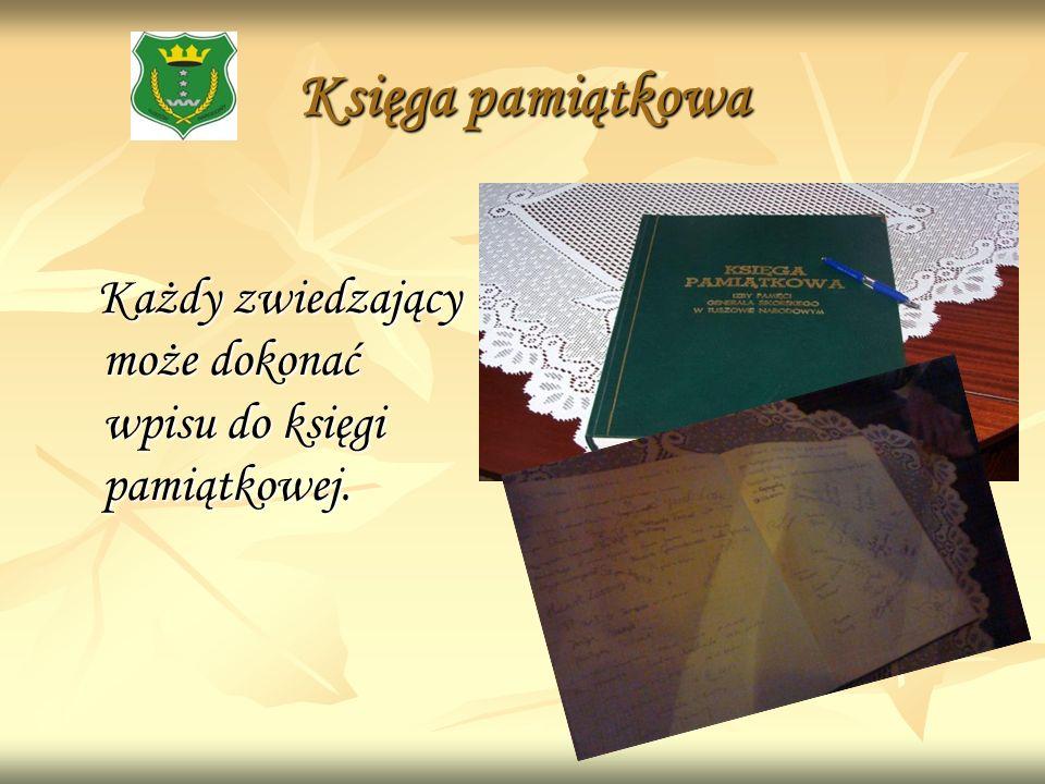 Księga pamiątkowa Każdy zwiedzający może dokonać wpisu do księgi pamiątkowej. Każdy zwiedzający może dokonać wpisu do księgi pamiątkowej.