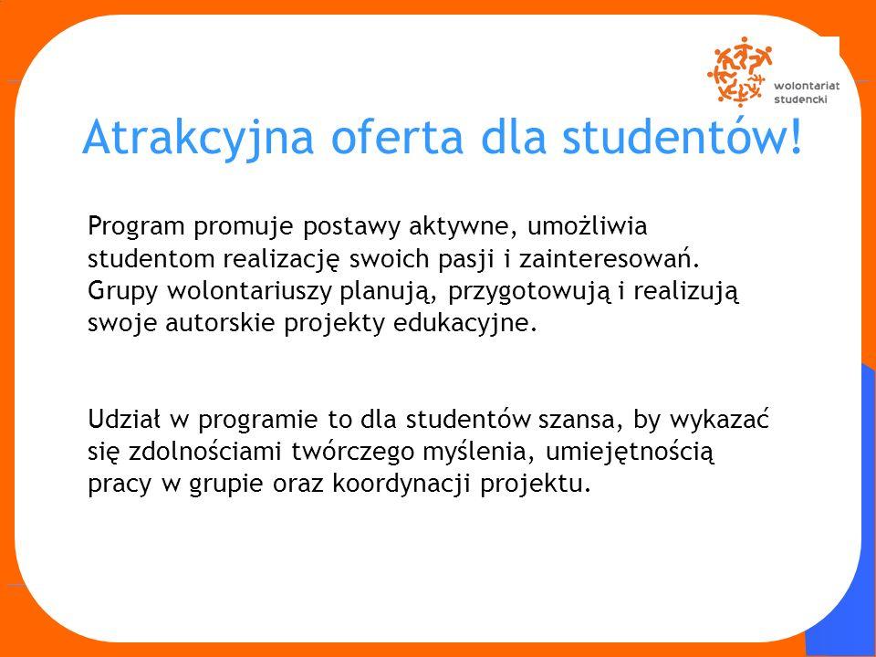 Program promuje postawy aktywne, umożliwia studentom realizację swoich pasji i zainteresowań. Grupy wolontariuszy planują, przygotowują i realizują sw