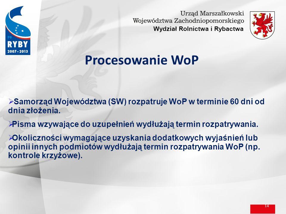 14 Wydział Rolnictwa i Rybactwa Procesowanie WoP Samorząd Województwa (SW) rozpatruje WoP w terminie 60 dni od dnia złożenia. Pisma wzywające do uzupe