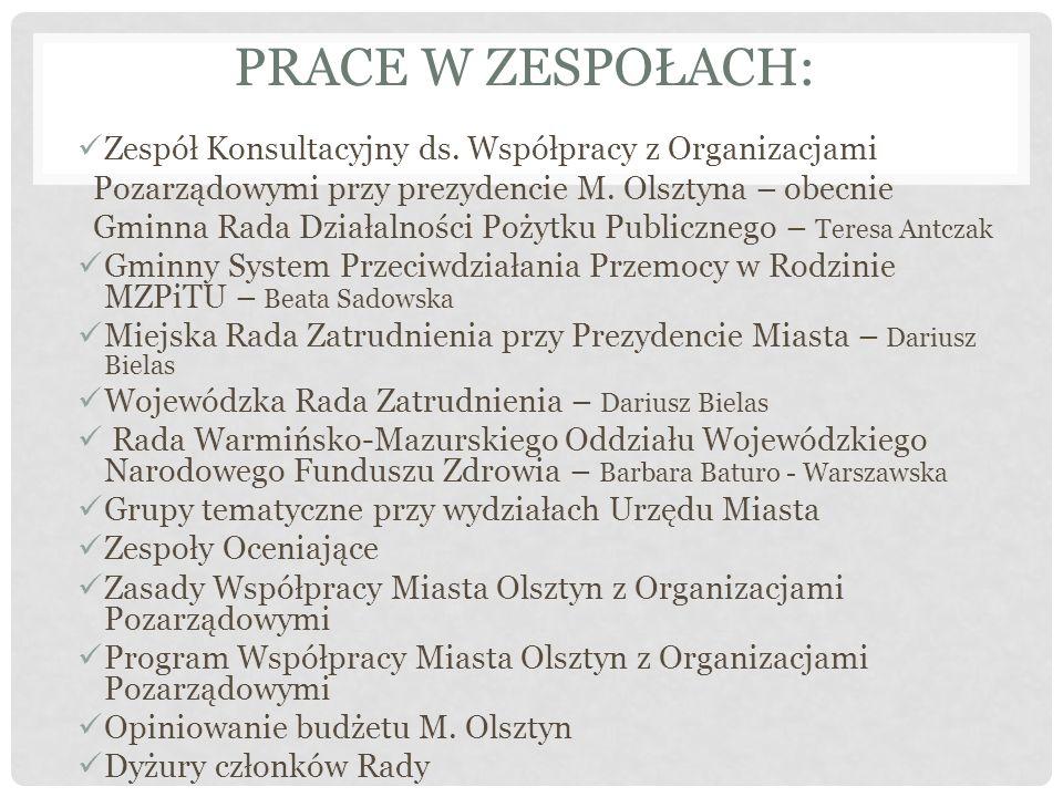 PRACE W ZESPOŁACH: Zespół Konsultacyjny ds.