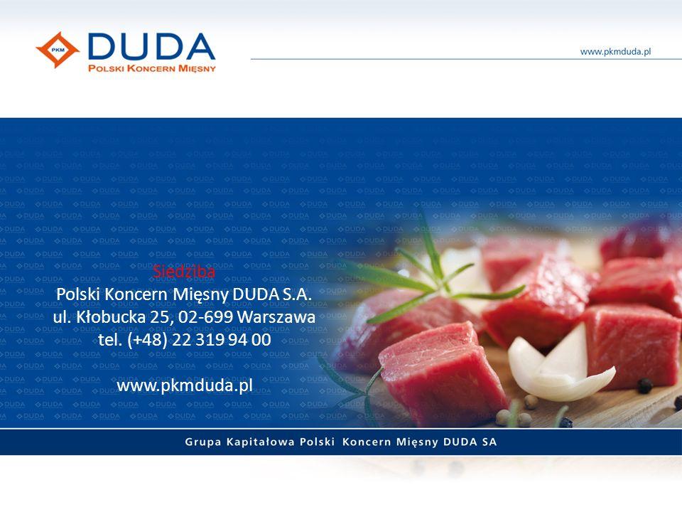 Siedziba Polski Koncern Mięsny DUDA S.A. ul. Kłobucka 25, 02-699 Warszawa tel.