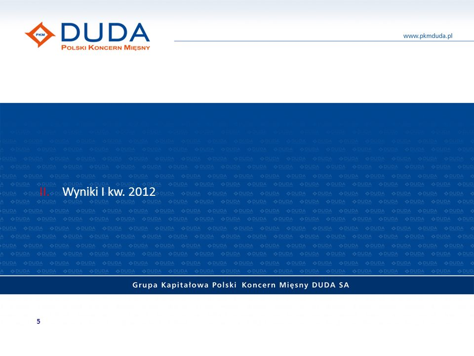 Skonsolidowane wyniki finansowe Przychody (w mln zł) Skonsolidowane przychody ze sprzedaży PKM Duda w latach 2004 – I kw.