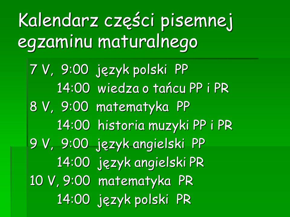 Kalendarz części pisemnej egzaminu maturalnego 7 V, 9:00 język polski PP 14:00 wiedza o tańcu PP i PR 14:00 wiedza o tańcu PP i PR 8 V, 9:00 matematyk