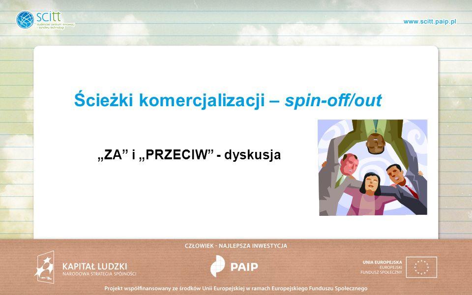 Ścieżki komercjalizacji – spin-off/out ZA i PRZECIW - dyskusja